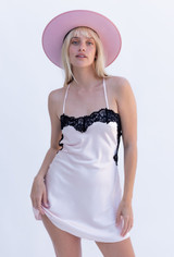 CALIstyle Tuscan Sun Satin Slip Dress In Light Pink/Black