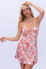 CALIstyle Maui Sands Slip Dress In Coral Multi
