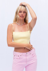 CALIstyle Whisper Knit Crop Top In Lemon