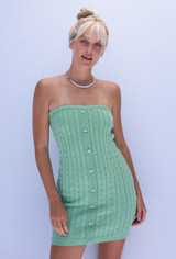 CALIstyle Kiwi Knit Cable Knit Tube Dress In Mint Green