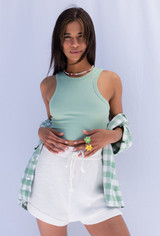 CALIstyle Date Night Crop Tank In Mint