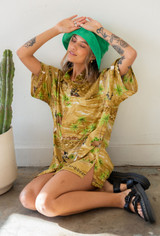 Vintage x Resurrection Hawaiian Silk Oversized Shirt In Gold/Green Multi