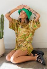 Vintage x Resurrection Hawaiian Silk Oversized Shirt In Gold/Green Multi
