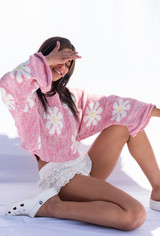 CALIstyle Up Your Game Knit Sweater In Pink Floral