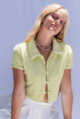 CALIstyle Love Struck Terry Button Crop Top In Lime - RESTOCKED
