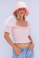 CALIstyle Fleur De Lis Eyelet Crop Top In Pink