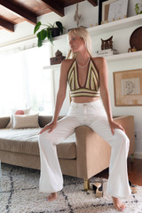 CALIstyle Covergirl Flared Leg Jean With Side Slit In White Denim