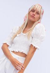 CALIstyle Fleur De Lis Eyelet Crop Top In White