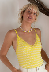 CALIstyle Sunkissed Bodysuit In Yellow/White