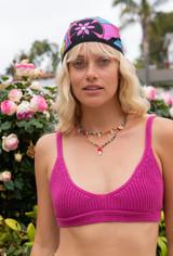 CALIstyle Coco Crochet Bralette Open Back Crop Top In Fuchsia