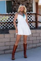 CALIstyle Beach House Eyelet Mini Dress In White