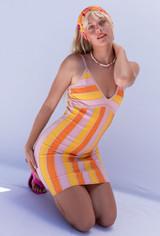 CALIstyle Spanish Coast Knit Dress In Orange Stripe