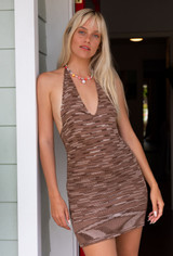 CALIstyle Slipping Away Knit Halter Dress In Brown