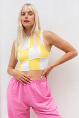 CALIstyle Juicy Fruit Exposed Seam Top Yellow/White