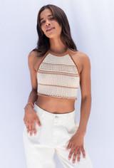 CALIstyle Harvest Moon Crochet Halter Top In Cream Multi