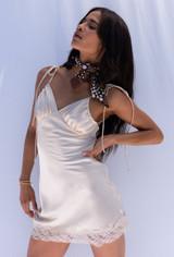 CALIstyle Caviar Dreams Satin Slip Dress In Champagne