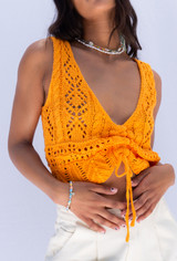 CALIstyle Crushing On You Crochet Ruched Top In Orange