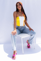 CALIstyle Surf & Sand Tube Top In Orange/Yellow