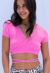 CALIstyle CALI Crush Fuzzy Crop Top In Hot Pink
