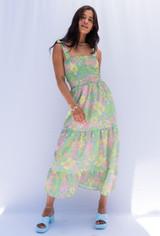 CALIstyle Tuscany Sun Midi Dress In Retro Limo/Pink