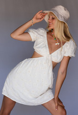 CALIstyle Serenity Eyelet Cut Out Dress In Natural