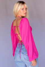 CALIstyle Into the 90's Baby Top Open Back Top In Hot Pink