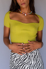 CALIstyle Serenity Knit Crop Top In Kiwi