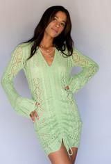 CALIstyle Girl Crush Crochet Ruched Mini Dress In Mini