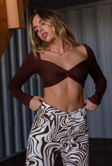 CALIstyle Soul Mate Twist Crop Top In Chocolate