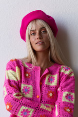 CALIstyle Paris In Fall Beret In Fuchsia Pink