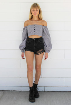 CALIstyle Frenchie Gingham Crop Top