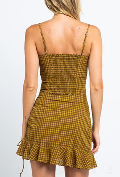 CALIstyle Golden Romance Top In Plaid Mustard