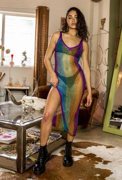 CALIstyle Festival Glam Metallic Crochet Midi Dress