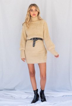 CALIstyle Sahara Fuzzy Sweater Dress In Sand