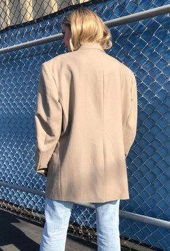 Vintage x Resurrection Oversized Menswear Blazer In Tan