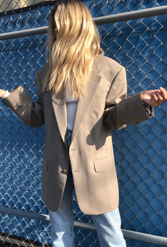 Vintage x Resurrection Oversized Menswear Blazer In Beige