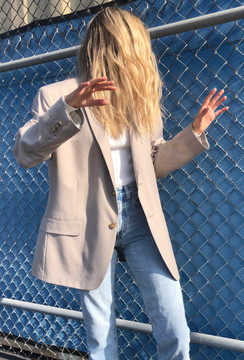 Vintage x Resurrection Oversized Menswear Blazer In Khaki