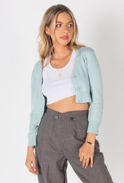 CALIstyle Sunset Sky Cardigan In Mint/Blue