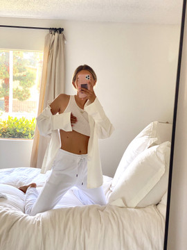 CALIstyle  WFH Jogger Fleece Sweatpants In White