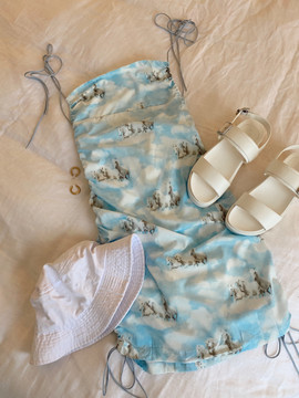 CALIstyle Above The Clouds Dress In Sky Blue