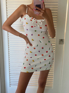 CALIstyle Garden Party Mini Dress In White