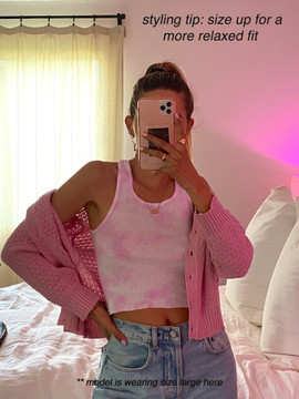 CALIstyle Sunshine On A Cloudy Day Crop Cardigan In Pink