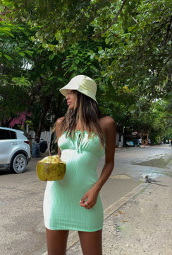 CALIstyle Hot Summer Days Strapless Dress In Lime