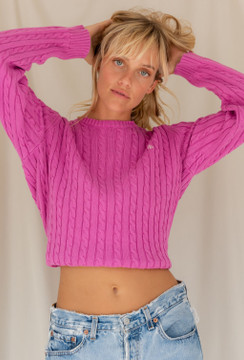 Vintage x Resurrection Ralph Lauren Pullover Cable Knit Sweater In Hot Pink - SOLD OUT