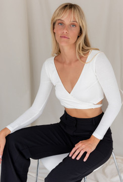CALIstyle Wrap Me Up Crop Top In White