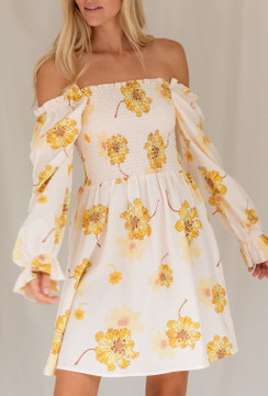 CALIstyle Autumn Leaves Floral Dress In Gold Floral