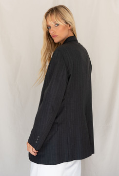 Vintage x Resurrection Menswear Blazer In Charcoal Pinstripe