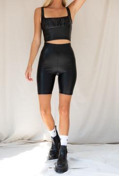 CALIstyle Midnight Rider Leather Biker Short In Black