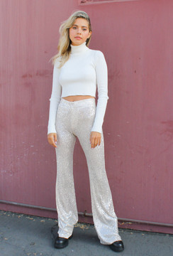 CALIstyle Sparkle All Night Sequin Pants In Champagne  PRE-ORDER