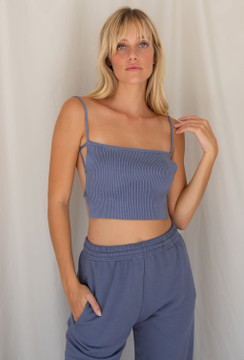 CALIstyle Whisper Knit Crop Top In Smokey Blue